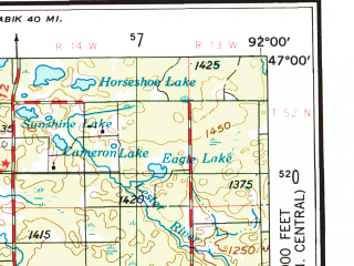 Reduced fragment of topographic map en--usgs--250k--068758--(1953)--N047-00_W094-00--N046-00_W092-00 in area of Mille Lacs Lake, St. Louis, Big Sandy Lake; towns and cities Duluth, Cloquet, Hermantown, Palisade, Denham
