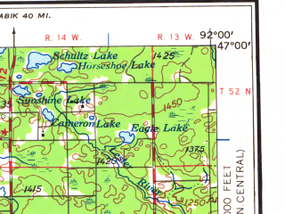 Reduced fragment of topographic map en--usgs--250k--068758--(1958)--N047-00_W094-00--N046-00_W092-00 in area of Mille Lacs Lake, St. Louis, Big Sandy Lake; towns and cities Duluth, Cloquet, Hermantown, Hill City, Superior
