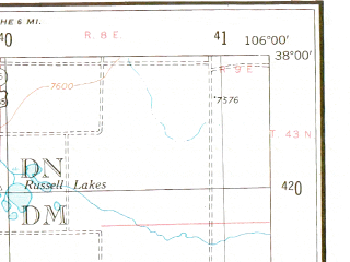 Reduced fragment of topographic map en--usgs--250k--068759--(1945)--N038-00_W108-00--N037-00_W106-00 in area of San Juan, Vallecito Reservoir, Rio Grande Reservoir; towns and cities Durango, Antonito, Silverton, Bayfield