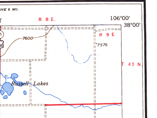Reduced fragment of topographic map en--usgs--250k--068759--(1954)--N038-00_W108-00--N037-00_W106-00 in area of San Juan, Vallecito Reservoir, Rio Grande Reservoir; towns and cities Durango, Ophir, Creede, Pagosa Springs