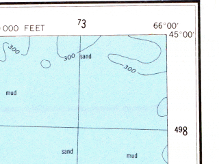 Reduced fragment of topographic map en--usgs--250k--068762--(1976)--N045-00_W068-00--N044-00_W066-00 in area of Cobscook Bay, Machias Bay, Western Passage; towns and cities Freeport, Machias, North Head