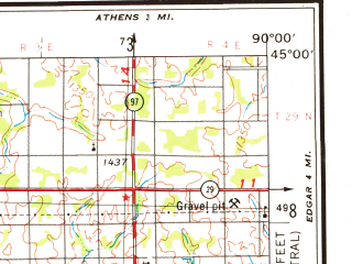 Reduced fragment of topographic map en--usgs--250k--068763--(1953)--N045-00_W092-00--N044-00_W090-00; towns and cities Eau Claire, Winona, Chippewa Falls, Marshfield, Menomonie