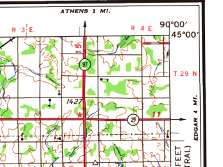 Reduced fragment of topographic map en--usgs--250k--068763--(1964)--N045-00_W092-00--N044-00_W090-00; towns and cities Eau Claire, Winona, Chippewa Falls, Marshfield, Menomonie