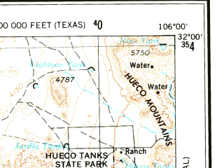 Reduced fragment of topographic map en--usgs--250k--068764--(1959)--N032-00_W108-00--N031-00_W106-00 in area of Laguna De Guzman (dry); towns and cities Ciudad Juarez, El Paso, Socorro, Fort Bliss, Fabens