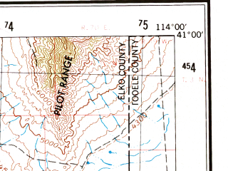 Reduced fragment of topographic map en--usgs--250k--068765--(1955)--N041-00_W116-00--N040-00_W114-00 in area of Ruby Lake; towns and cities Elko, Spring Creek, Wendover, West Wendover