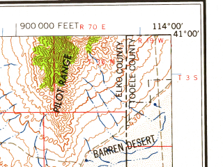 Reduced fragment of topographic map en--usgs--250k--068765--(1958)--N041-00_W116-00--N040-00_W114-00 in area of Ruby Lake; towns and cities Elko, Spring Creek, Wendover, West Wendover