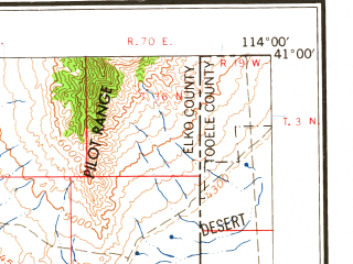 Reduced fragment of topographic map en--usgs--250k--068765--(1965)--N041-00_W116-00--N040-00_W114-00 in area of Ruby Lake; towns and cities Elko, Spring Creek, Wendover, West Wendover