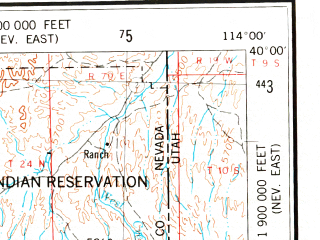 Reduced fragment of topographic map en--usgs--250k--068767--(1956)--N040-00_W116-00--N039-00_W114-00 in area of Newark Lake (dry); towns and cities Ely, Mcgill