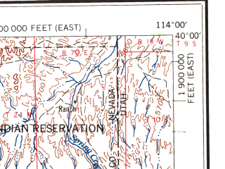 Reduced fragment of topographic map en--usgs--250k--068767--(1963)--N040-00_W116-00--N039-00_W114-00 in area of Newark Lake (dry); towns and cities Mcgill, Ely