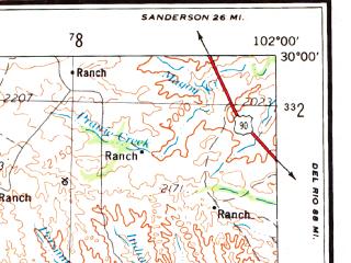 Reduced fragment of topographic map en--usgs--250k--068768--(1959)--N030-00_W104-00--N029-00_W102-00; towns and cities Ejido De Santa Elena, Rio Grande Village, San Vicente