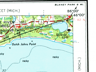 Reduced fragment of topographic map en--usgs--250k--068771--(1954)--N046-00_W088-00--N045-00_W086-00 in area of Big Bay De Noc, Little Bay De Noc, Moss Lake; towns and cities Escanaba, Marinette, Menominee, Daggett, Gladstone