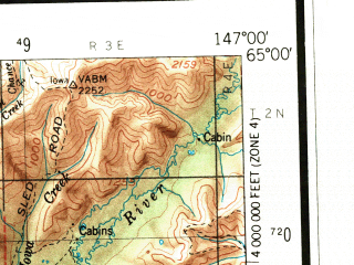 Reduced fragment of topographic map en--usgs--250k--068773--(1956)--N065-00_W150-00--N064-00_W147-00 in area of Nenana, Minto Lakes, Black Bear Lake; towns and cities Fairbanks, Eielson Afb, North Pole, College, Two Rivers