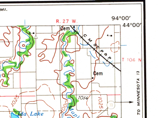 Reduced fragment of topographic map en--usgs--250k--068774--(1958)--N044-00_W096-00--N043-00_W094-00 in area of W. Fk. Des Moines; towns and cities Fairmont, Spencer, Algona, Worthington, Estherville