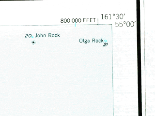 Reduced fragment of topographic map en--usgs--250k--068775--(1949)--N055-00_W164-00--N054-00_W161-30 in area of Ikatan Bay; towns and cities False Pass