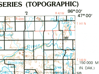Reduced fragment of topographic map en--usgs--250k--068776--(1989)--N047-00_W098-00--N046-00_W096-00 in area of Big Cormorant Lake, Orwell Lake, Prairie Lake; towns and cities Fargo, Moorhead, West Fargo, Fergus Falls, Wahpeton