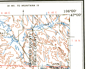 Reduced fragment of topographic map en--usgs--250k--068782--(1958)--N047-00_W108-00--N046-00_W106-00; towns and cities Hysham, Melstone, Forsyth