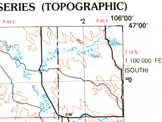 Reduced fragment of topographic map en--usgs--250k--068782--(1983)--N047-00_W108-00--N046-00_W106-00; towns and cities Hysham, Melstone, Forsyth