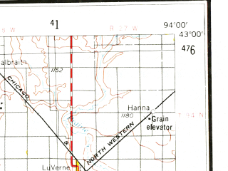 Reduced fragment of topographic map en--usgs--250k--068783--(1954)--N043-00_W096-00--N042-00_W094-00; towns and cities Fort Dodge, Storm Lake, Cherokee, Denison, Odebolt