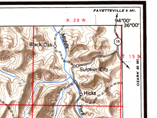 Reduced fragment of topographic map en--usgs--250k--068785--(1946)--N036-00_W096-00--N035-00_W094-00 in area of Robert S. Kerr Lake; towns and cities Fort Smith, Muskogee, Tahlequah, Okmulgee, Van Buren