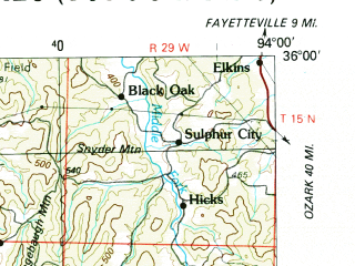 Reduced fragment of topographic map en--usgs--250k--068785--(1978)--N036-00_W096-00--N035-00_W094-00 in area of Robert S. Kerr Lake; towns and cities Fort Smith, Muskogee, Tahlequah, Okmulgee, Van Buren