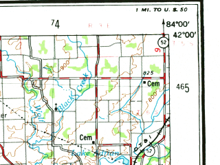 Reduced fragment of topographic map en--usgs--250k--068788--(1953)--N042-00_W086-00--N041-00_W084-00; towns and cities Fort Wayne, Elkhart, Adrian, Goshen, Defiance
