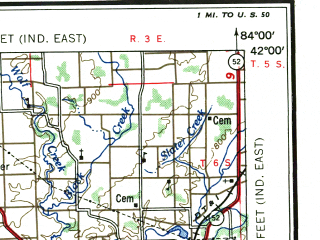 Reduced fragment of topographic map en--usgs--250k--068788--(1956)--N042-00_W086-00--N041-00_W084-00; towns and cities Fort Wayne, Elkhart, Adrian, Goshen, Sturgis