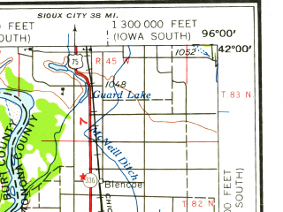 Reduced fragment of topographic map en--usgs--250k--068791--(1958)--N042-00_W098-00--N041-00_W096-00; towns and cities Omaha, Fremont, Papillion, Columbus, Chalco