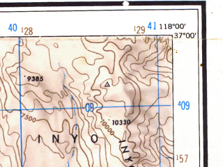 Reduced fragment of topographic map en--usgs--250k--068792--(1948)--N037-00_W120-00--N036-00_W118-00 in area of South Fk. Kings, Pine Flat Lake, Lake Kaweah; towns and cities Fresno, Visalia, Clovis, Porterville, Tulare