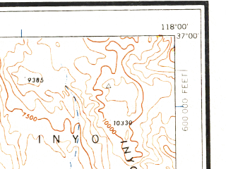 Reduced fragment of topographic map en--usgs--250k--068792--(1958)--N037-00_W120-00--N036-00_W118-00 in area of South Fk. Kings, Pine Flat Lake, Lake Kaweah; towns and cities Fresno, Visalia, Clovis, Porterville, Tulare