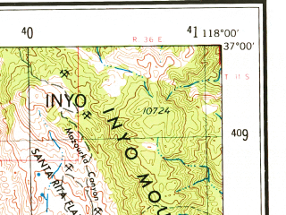 Reduced fragment of topographic map en--usgs--250k--068792--(1962)--N037-00_W120-00--N036-00_W118-00 in area of South Fk. Kings, Pine Flat Lake, Lake Kaweah; towns and cities Fresno, Visalia, Clovis, Tulare, Hanford
