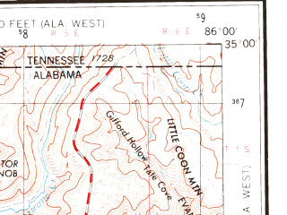 Reduced fragment of topographic map en--usgs--250k--068793--(1956)--N035-00_W088-00--N034-00_W086-00 in area of Wheeler Lake; towns and cities Huntsville, Florence, Decatur, Gadsden, Cullman