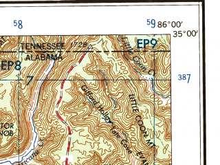 Reduced fragment of topographic map en--usgs--250k--068793--(1958)--N035-00_W088-00--N034-00_W086-00 in area of Wheeler Lake; towns and cities Huntsville, Florence, Decatur, Gadsden, Scottsboro
