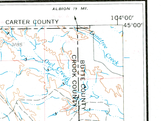 Reduced fragment of topographic map en--usgs--250k--068795--(1954)--N045-00_W106-00--N044-00_W104-00 in area of Keyhole Reservoir, Cottonwood Creek; towns and cities Gillette, Sleepy Hollow, Antelope Valley-crestview, Hulett