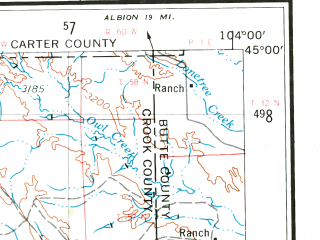 Reduced fragment of topographic map en--usgs--250k--068795--(1955)--N045-00_W106-00--N044-00_W104-00 in area of Keyhole Reservoir, Cottonwood Creek; towns and cities Gillette, Hulett, Sundance, Moorcroft