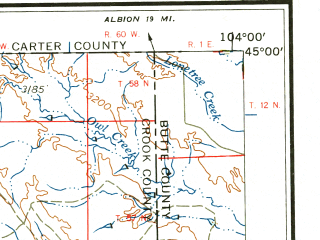 Reduced fragment of topographic map en--usgs--250k--068795--(1958)--N045-00_W106-00--N044-00_W104-00 in area of Keyhole Reservoir, Cottonwood Creek; towns and cities Gillette, Sleepy Hollow, Antelope Valley-crestview, Hulett