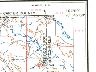 Reduced fragment of topographic map en--usgs--250k--068795--(1962)--N045-00_W106-00--N044-00_W104-00 in area of Keyhole Reservoir, Cottonwood Creek; towns and cities Gillette, Upton, Pine Haven, Sleepy Hollow