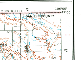 Reduced fragment of topographic map en--usgs--250k--068796--(1954)--N049-00_W108-00--N048-00_W106-00 in area of Nelson Reservoir, Lake Bowdoin, Whitcomb Lake; towns and cities Malta, Nashua, Opheim