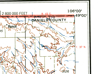 Reduced fragment of topographic map en--usgs--250k--068796--(1958)--N049-00_W108-00--N048-00_W106-00 in area of Nelson Reservoir, Lake Bowdoin, Whitcomb Lake; towns and cities Glasgow, Saco, Malta
