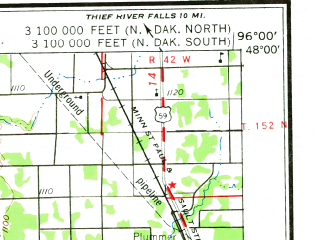 Reduced fragment of topographic map en--usgs--250k--068798--(1966)--N048-00_W098-00--N047-00_W096-00 in area of Maple Lake, Union Lake; towns and cities Grand Forks, Grand Forks Afb, Crookston, East Grand Forks, Aneta