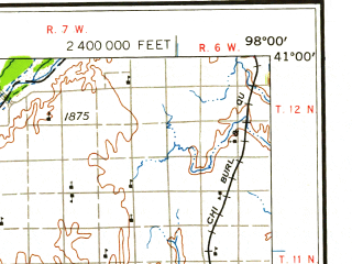Reduced fragment of topographic map en--usgs--250k--068799--(1958)--N041-00_W100-00--N040-00_W098-00 in area of Harlan County Lake, Johnson Reservoir, Elwood Reservoir; towns and cities Kearney, Hastings, Grand Island, Lexington, Holdrege