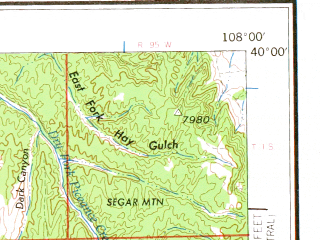 Reduced fragment of topographic map en--usgs--250k--068800--(1962)--N040-00_W110-00--N039-00_W108-00; towns and cities Grand Junction, Clifton, Redlands, Fruitvale, Battlement Mesa