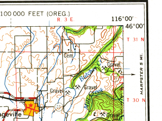 Reduced fragment of topographic map en--usgs--250k--068802--(1959)--N046-00_W118-00--N045-00_W116-00 in area of Imnaha, Wallowa Lake, Thief Valley Reservoir; towns and cities Joseph, Wallowa, Lostine