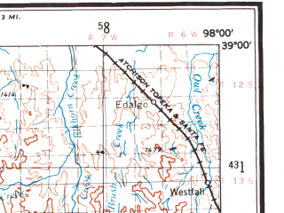 Reduced fragment of topographic map en--usgs--250k--068803--(1955)--N039-00_W100-00--N038-00_W098-00 in area of Wilson Lake, Cedar Bluff Reservoir, Cheyenne Bottoms; towns and cities Great Bend, Hays, Russell, Bunker Hill, Lorraine