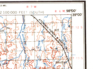 Reduced fragment of topographic map en--usgs--250k--068803--(1958)--N039-00_W100-00--N038-00_W098-00 in area of Wilson Lake, Cedar Bluff Reservoir, Cheyenne Bottoms; towns and cities Great Bend, Hays, Russell, Ellis, Olmitz
