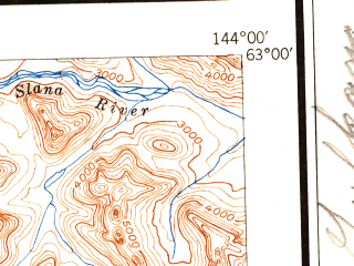 Reduced fragment of topographic map en--usgs--250k--068810--(1951)--N063-00_W147-00--N062-00_W144-00 in area of Lake Louise, Crosswind Lake, Susitna Lake; towns and cities Chistochina, Copperville, Gakona