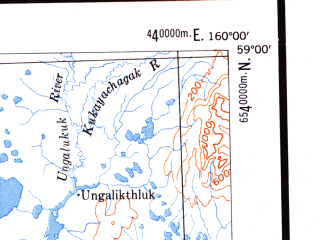 Reduced fragment of topographic map en--usgs--250k--068811--(1951)--N059-00_W162-30--N058-00_W160-00 in area of Chagvan Bay, Nanvak Bay, Osviak