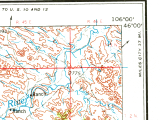 Reduced fragment of topographic map en--usgs--250k--068814--(1954)--N046-00_W108-00--N045-00_W106-00 in area of Tongue Reservoir; towns and cities Hardin, Lame Deer, Ashland