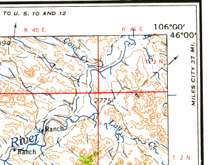 Reduced fragment of topographic map en--usgs--250k--068814--(1958)--N046-00_W108-00--N045-00_W106-00 in area of Tongue Reservoir; towns and cities Hardin, Lame Deer, Ashland