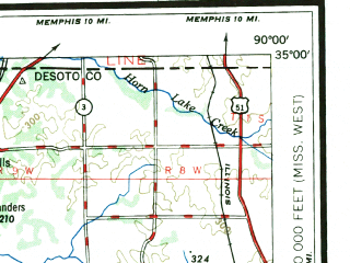 Reduced fragment of topographic map en--usgs--250k--068822--(1948)--N035-00_W092-00--N034-00_W090-00 in area of Coldwater; towns and cities Stuttgart, Clarksdale, Helena, West Helena, Marianna