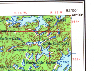 Reduced fragment of topographic map en--usgs--250k--068823--(1958)--N048-00_W094-00--N047-00_W092-00 in area of Vermilion Lake, Pokegama Lake, Bowstring Lake; towns and cities Hibbing, Chisholm, Grand Rapids, Virginia, Iron Junction